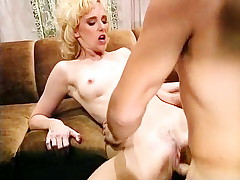 Skinny blonde fucks a producer of classic sex film