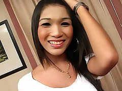 Girly ladyboy plays with her manly tool