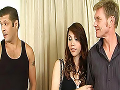 Lucky ladyboy gets reamed and tag teamed