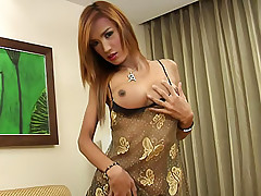 Awesome Asian dickgirl Icecy fondling herself