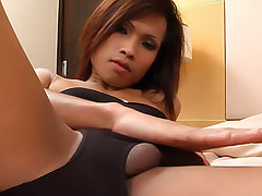 Thai femboy with large cock jerks off