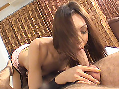 Latex ladyboy goes for endless cock rodeo