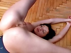 Busty babe gets seduced during lesbian workout