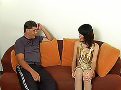 Extremely mischievous ladyboy Gold takes out a toy