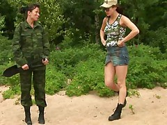 Fatiguing outdoor nude army training