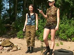 Petite military girl follows the lesbian instruction