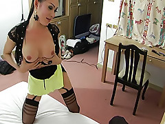 Submissive ladyboy awarded with raw ass ramming