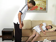 Raunchy tgirl Pop hiking her dress for a hot show