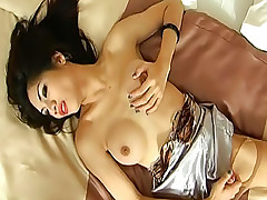 Cum hungry ladyboy screwed in torn pantyhose