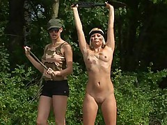 Lesbian army babe trained and straponed