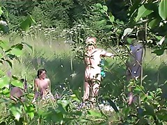 Outdoor foursome sex caught on spy camera