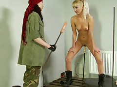 Cruel sergeant double dildoing a lesbian soldier