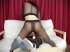 Pantyhose excited lesbians play strapon games