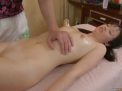 Nude massage including oral and vaginal rubbing