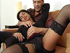Extremely sexy ladyboy Vita in black-n-red outfit