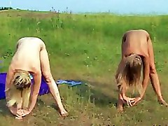Naughty girls getting undressed during gymnastics lesson