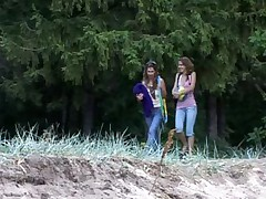 Two flexy girls having outdoor sports fun