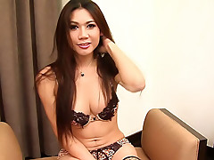 Curvy hung ladyboy frantically strokes her meat
