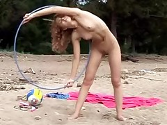 Hooping and jumping in the raw outdoors