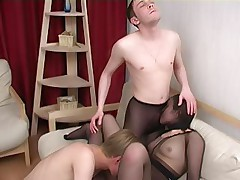 Two riders do the nasty with a slut in pantyhose