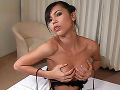 Hung hottie ladyboy fingers ass and jerks off