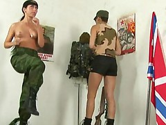 War-painted army girl does naked drills