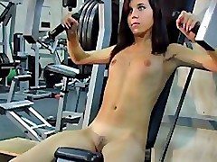 Interesting nude fitness lessons by amateur brunette
