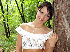 Tiny teenage cutie loves rough anal action in the woods