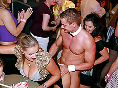 Horny dancers fucking doggystyle at a disco club hardcore