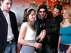 Hardcore groupsex fucking party for her birthday movies