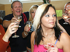 Chubby girl getting jizzed at birthday porn party at pool