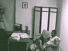 Interracial fuck in the office filmed by security cam