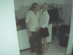 Blonde secretary wasted and filmed by security cam