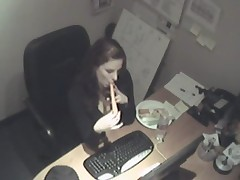 Security cam in the office filming carrot penetrations
