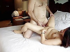 Chubby asian girlfriend has amateur sex with boyfriend