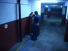Impressive fuck session in the garage filmed by security cam