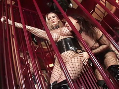 Two slutty lesbians in fishnets toys their muffs and squirts all over