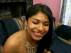 Beautiful Indian babe gets ass pumped while gives head job