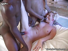 Just 18 blonde in interracial gangbang and cumeating