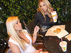 Two hot blond sluts fuck and suck monster black dick