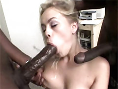White horny pussy get fucked by black studs