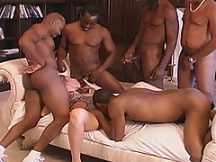 Blonde beauty has interracial gangbang jizzfest