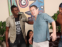Generous cuckold invites three black guys to bang his wife