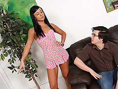 Nerdy cuckold would rather play on the computer than fuck his hot girlfrfiend