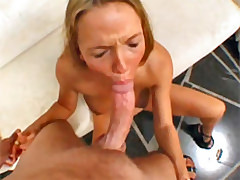 Amazing blonde gets mouthfucked and cummed