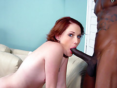 Redhead interracial cuckold and cumeating