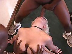 Big tits blonde interracial DP and cumeating