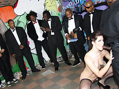 Bobbi Starr gets bombarded with black cocks and gets sprayed
