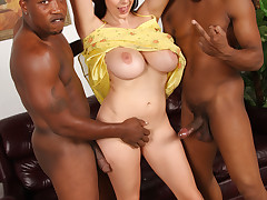 Voluptous white girl gets mouth and pussy overwhelmed by black cocks as her husband watches