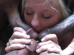 Blonde interracial gangbang anal DP and cumeating